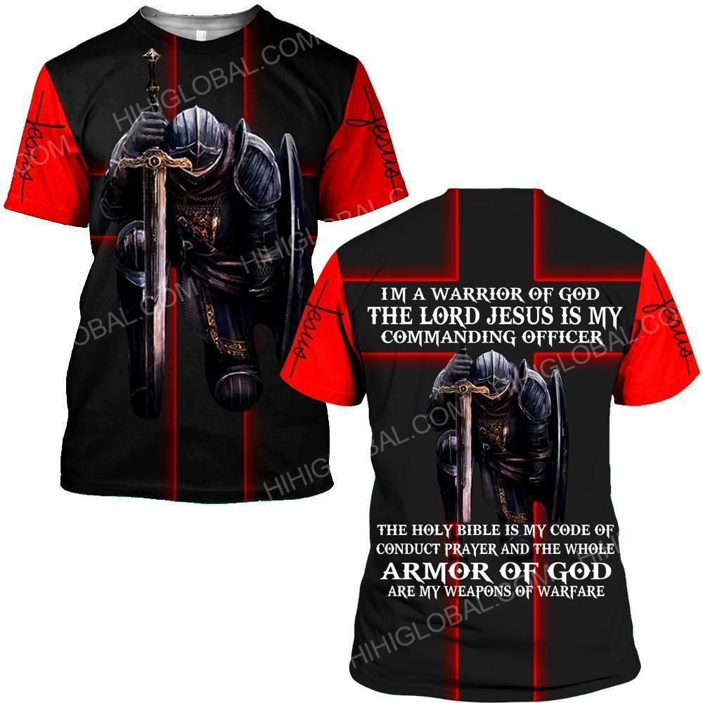 I'm a warrior of God the lord Jesus is my commanding officer all over printed tshirt