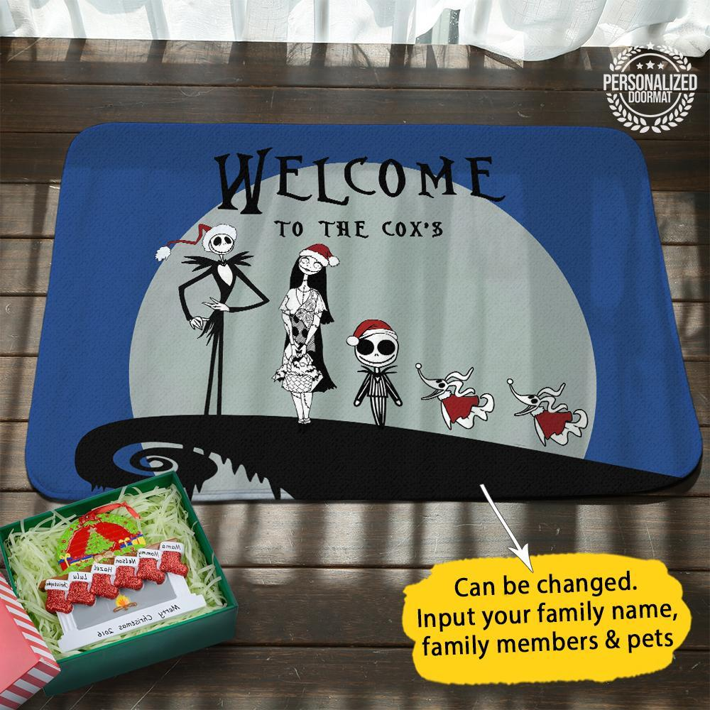 Jack and sally christmas personalized doormat blue