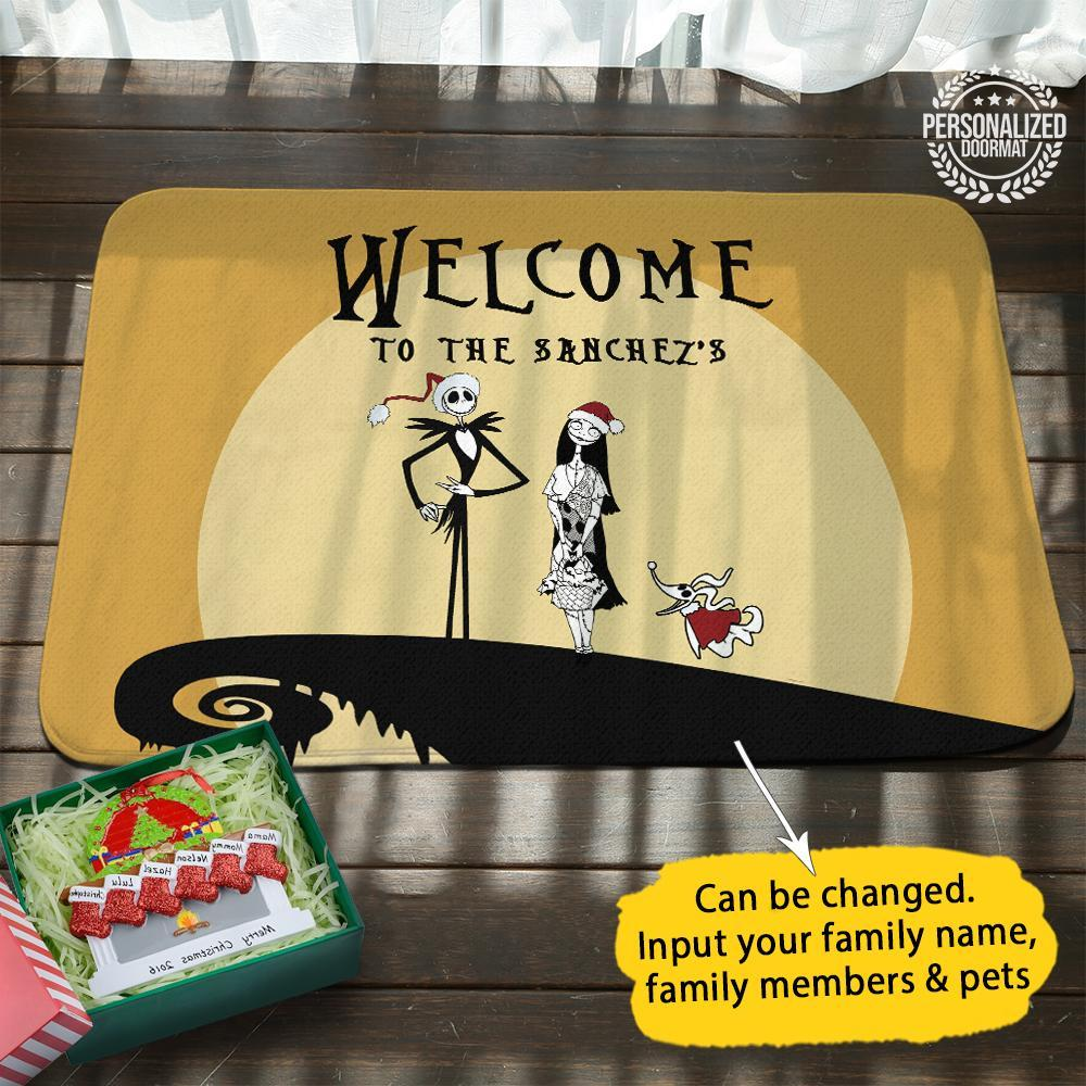 Jack and sally christmas personalized doormat gold
