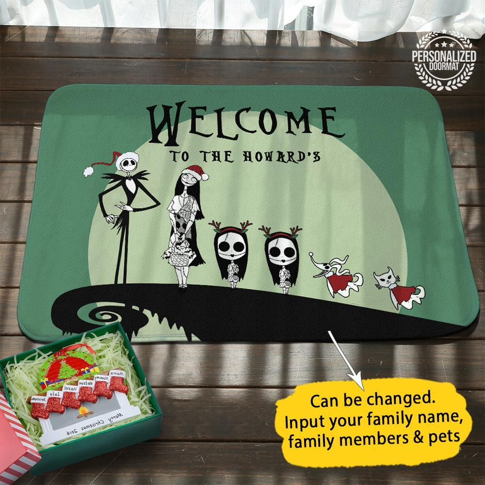 Jack and sally christmas personalized doormat green