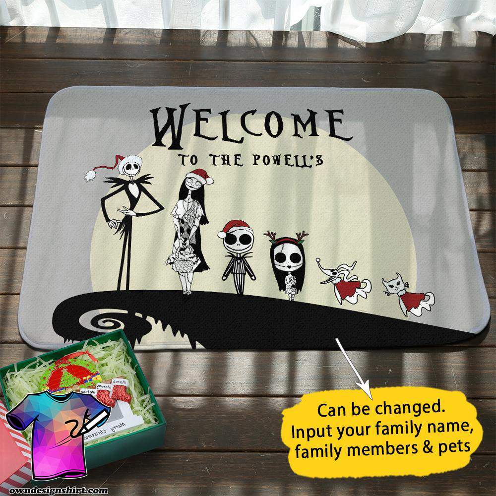 Jack and sally christmas personalized doormat