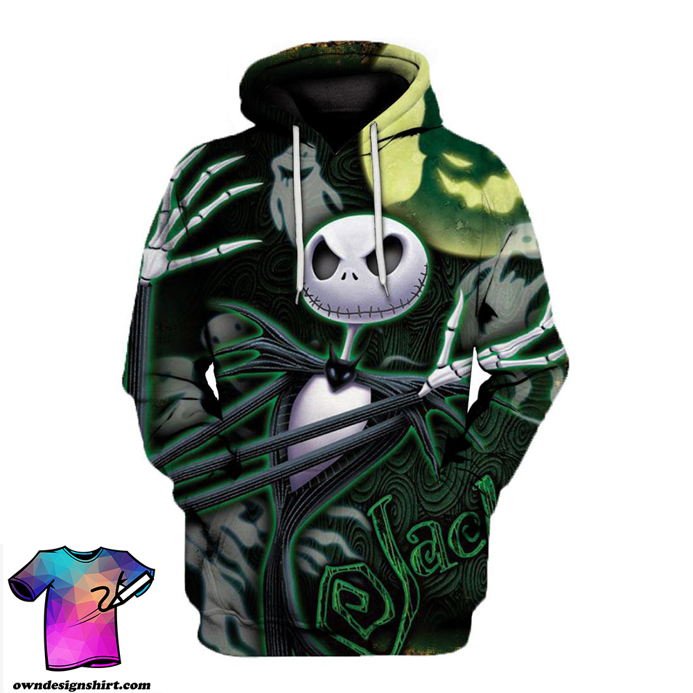 Jack skellington and ghost all over print hoodie