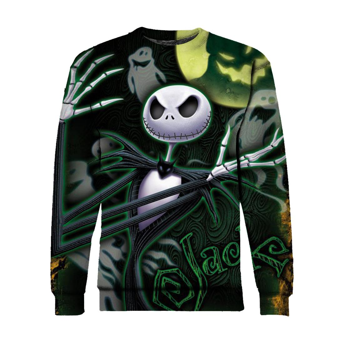 Jack skellington and ghost all over print sweatshirt