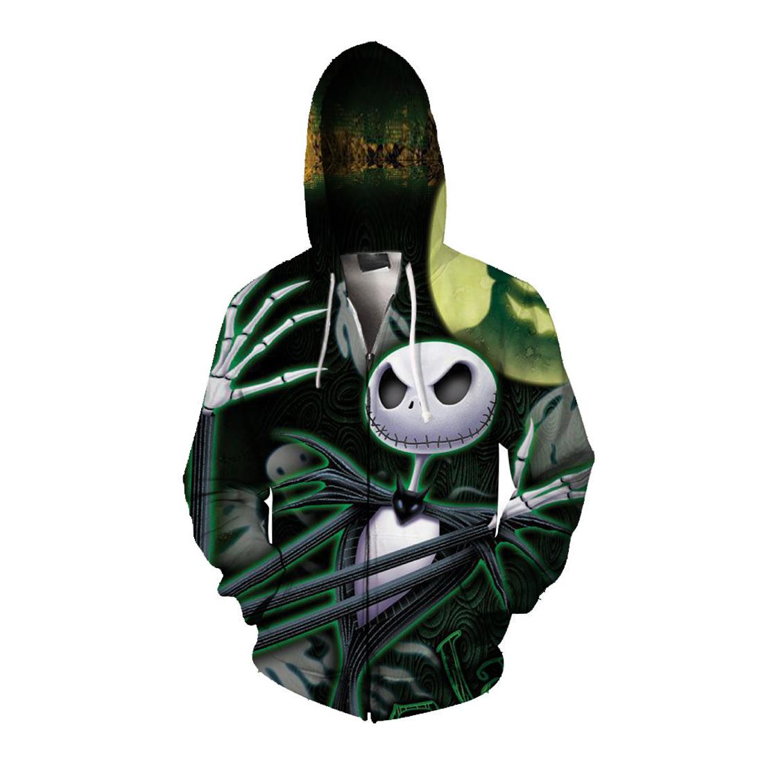 Jack skellington and ghost all over print zip hoodie