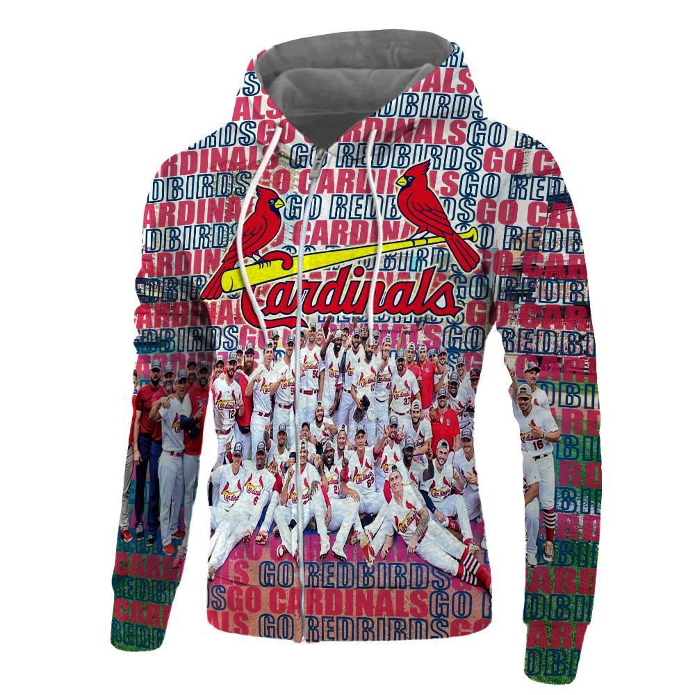 MLB st louis cardinals go redbirds 3d zip hoodie