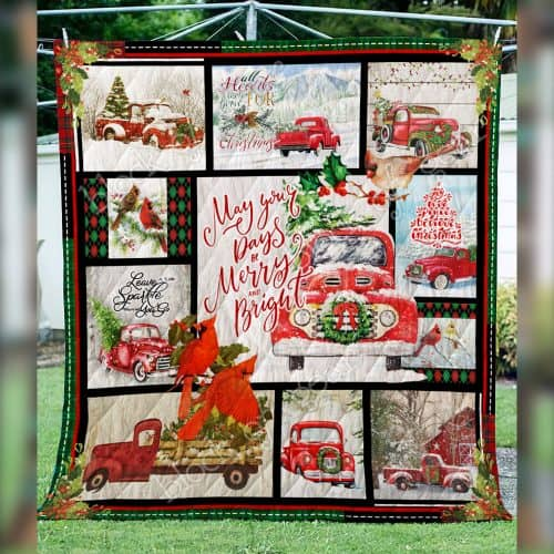 May your day be merry and bright red truck christmas quilt 2