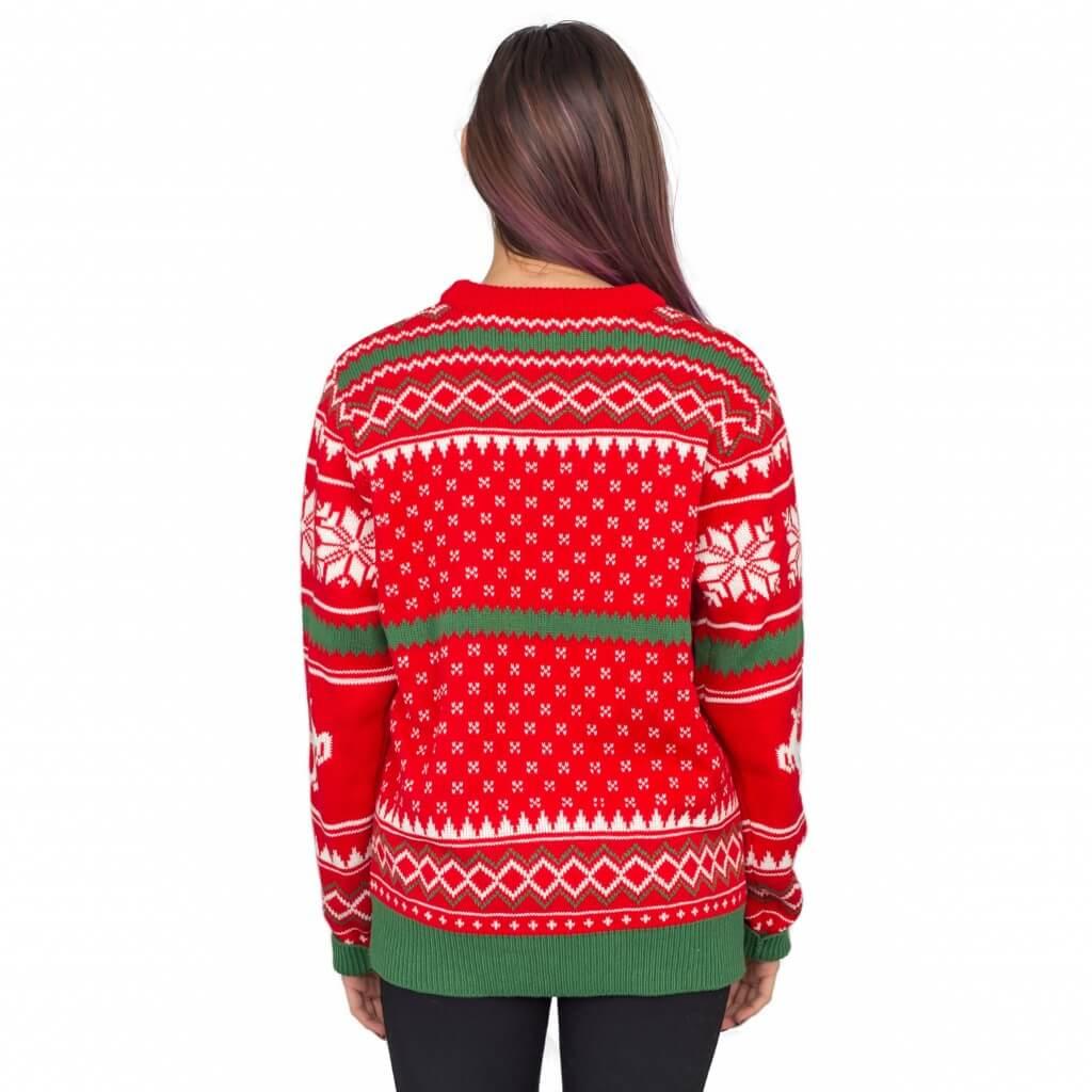 Merry christmas ya filthy animal snowflake and reindeer ugly christmas sweater - back