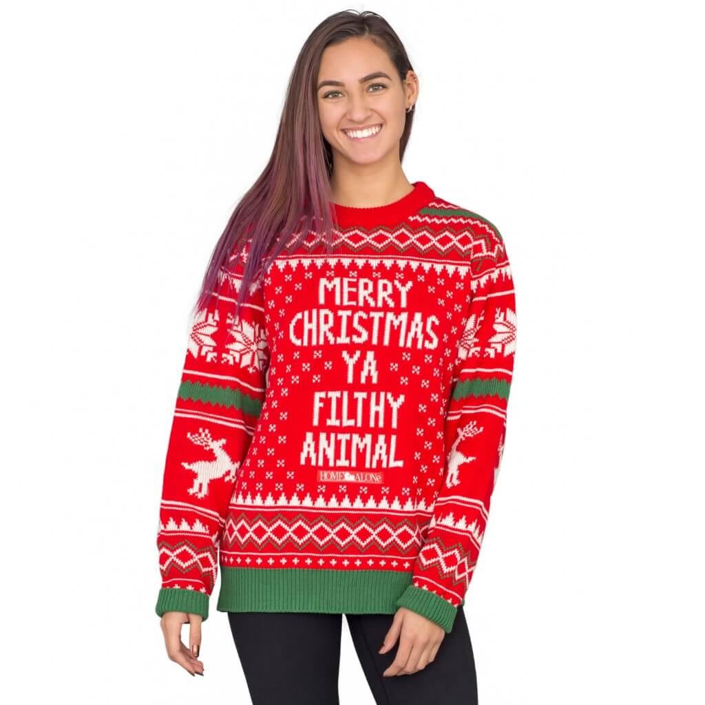 Merry christmas ya filthy animal snowflake and reindeer ugly christmas sweater - front