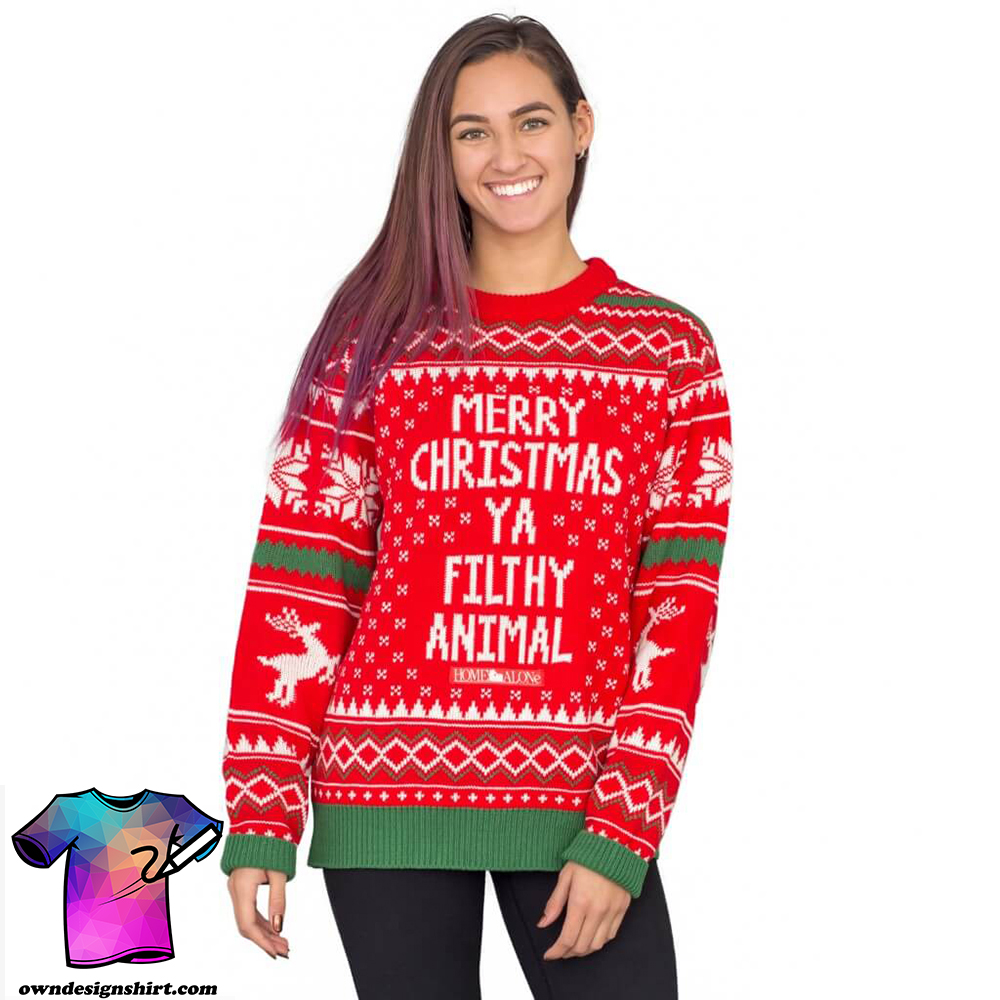 Merry christmas ya filthy animal snowflake and reindeer ugly christmas sweater