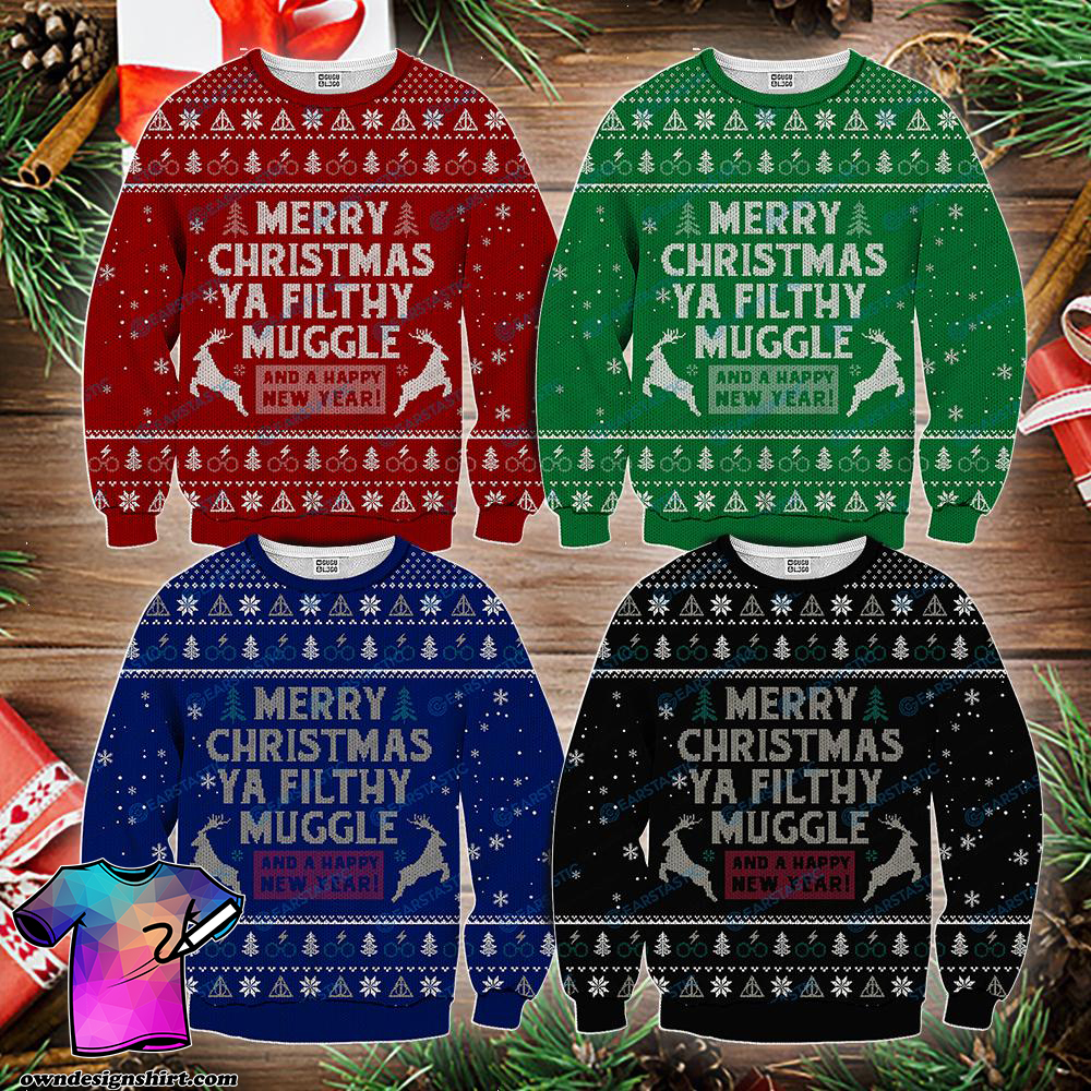 Merry christmas ya filthy muggle and a happy new year ugly sweater - maria
