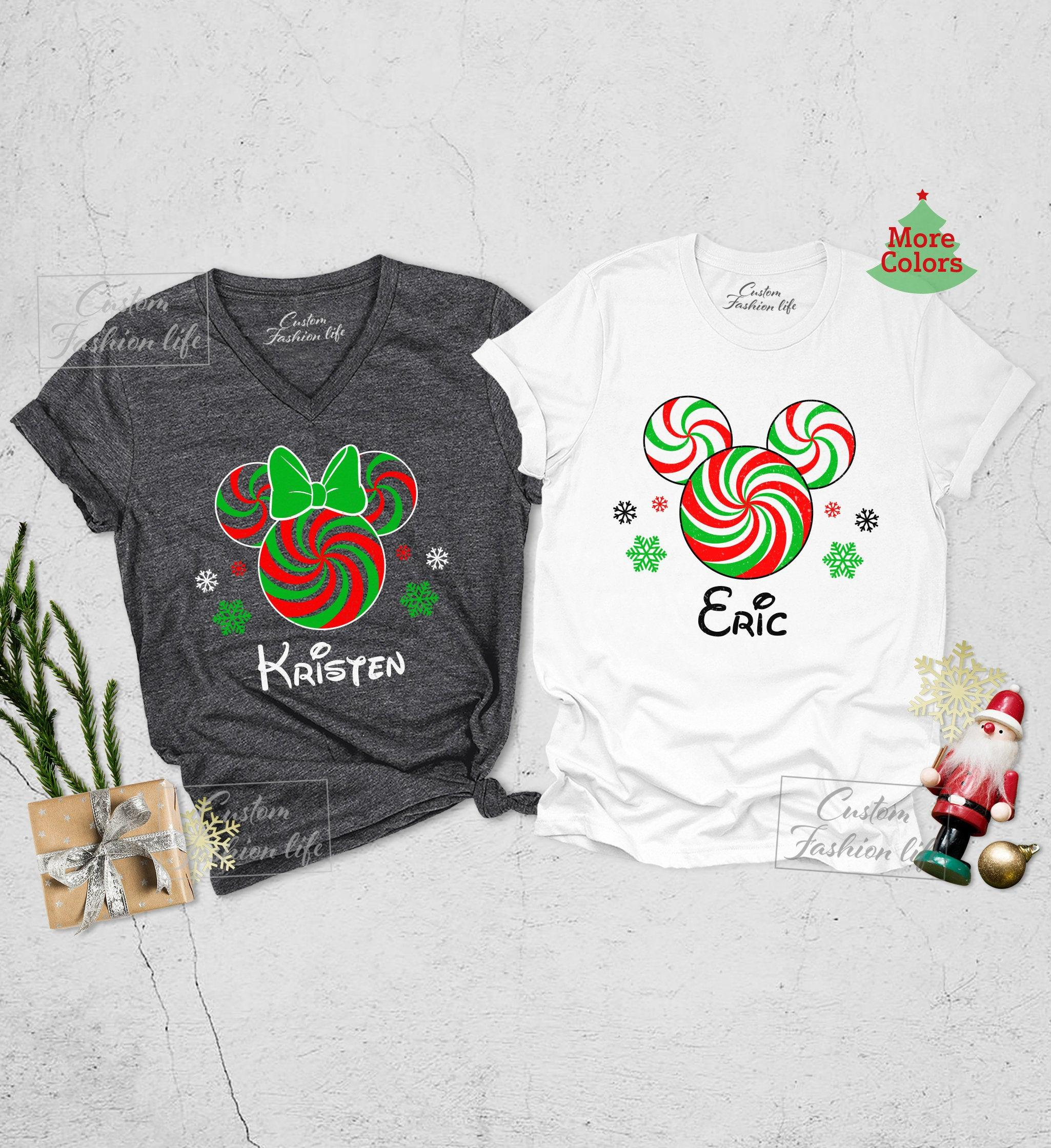 Minnie and mickey candy cane christmas womens v-neck