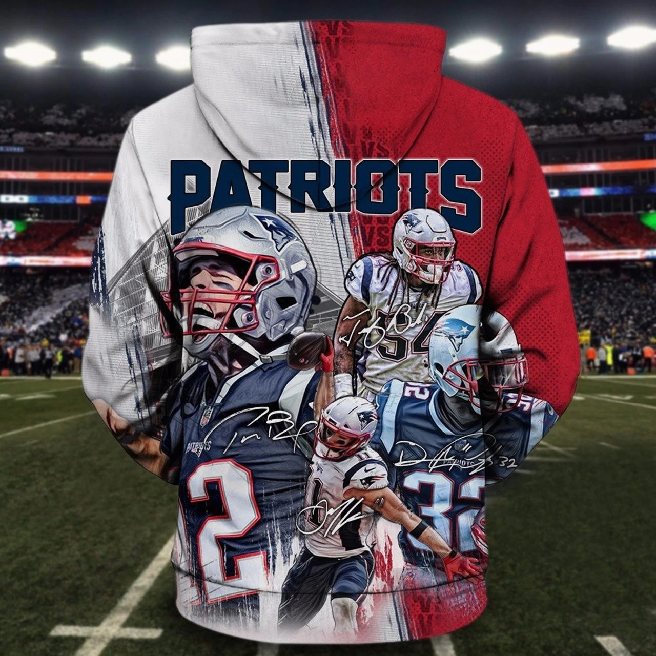 NFL new england patriots all star winning all over print zip hoodie - original