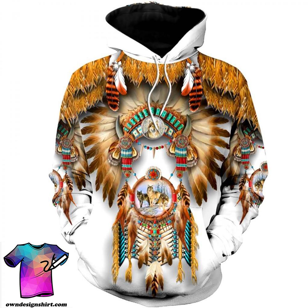 Native american 3d over printed hoodie