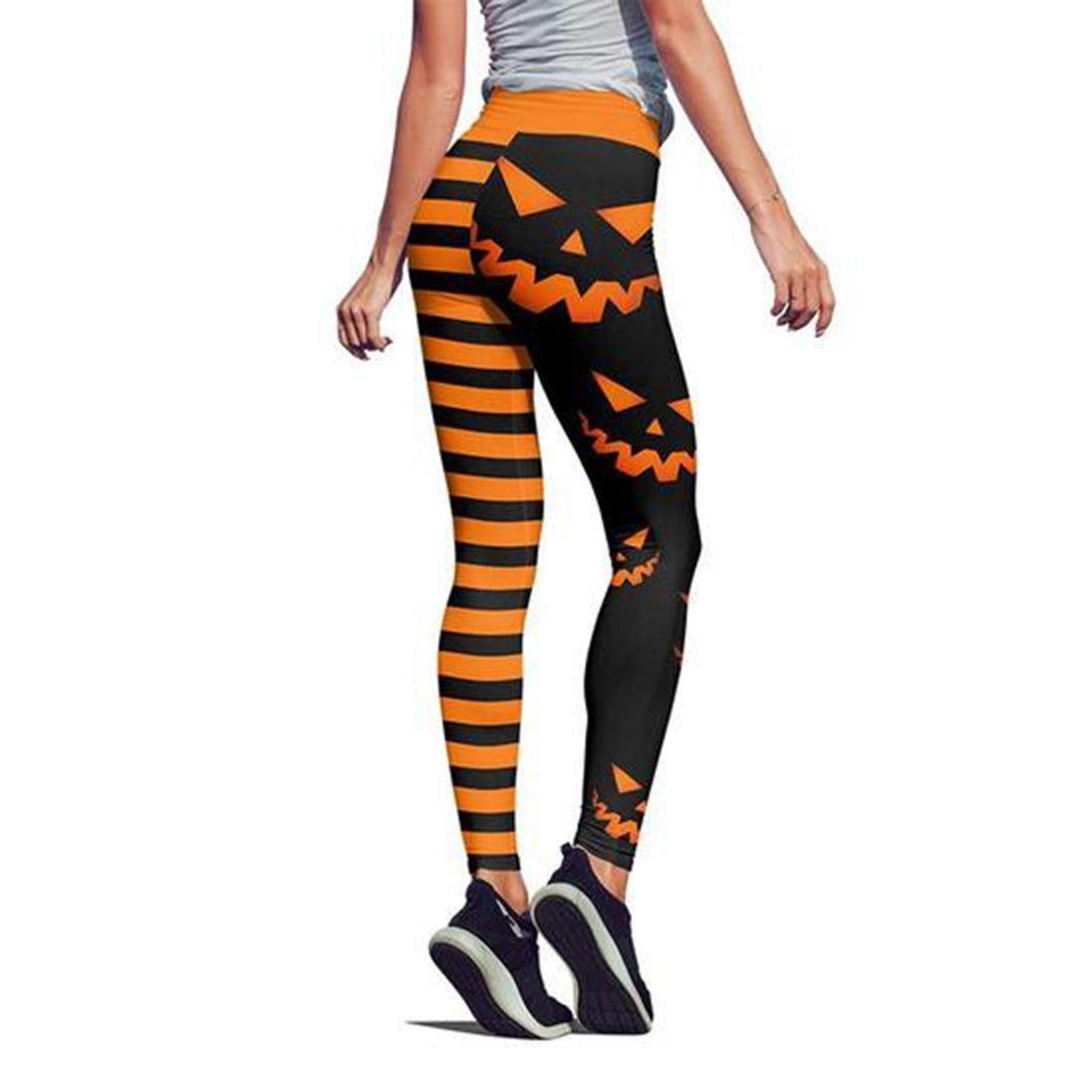 Pumpkin hallowstripes high waist legging orange - back