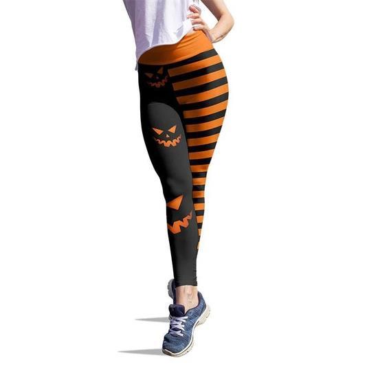 Pumpkin hallowstripes high waist legging - orange