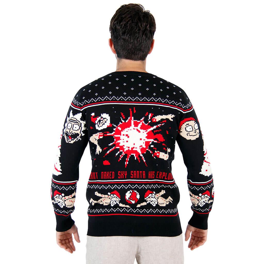 Rick and morty happy human holiday ugly christmas sweater - back