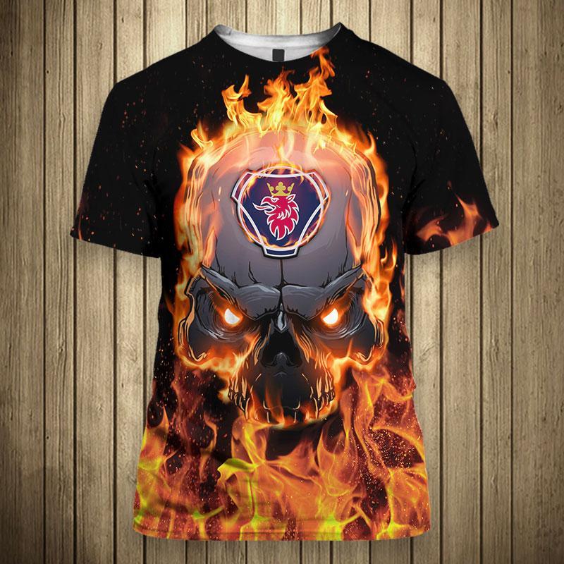 Scania ab skull fire 3d t-shirt