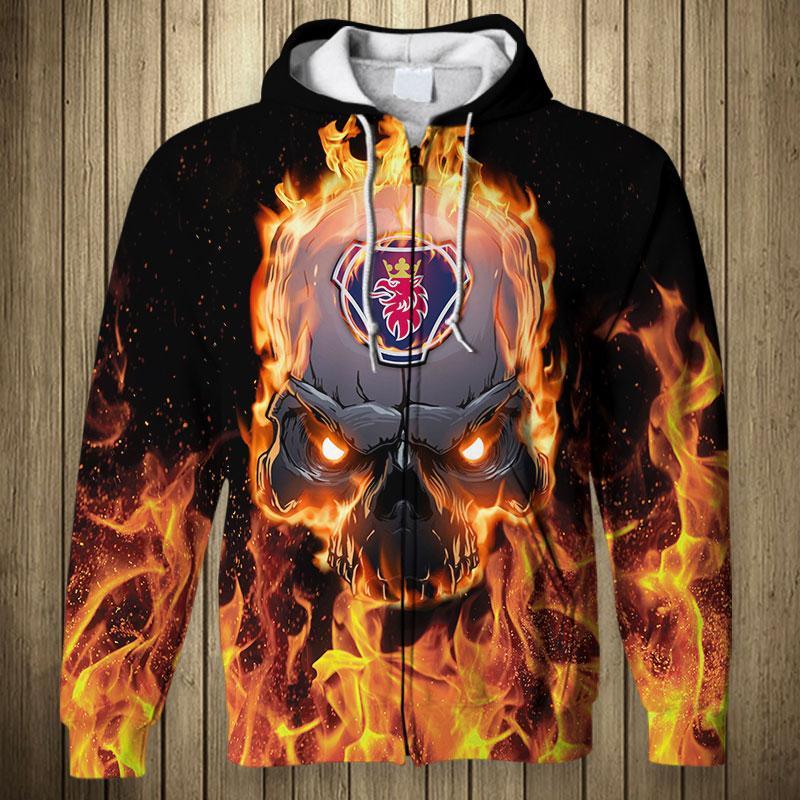 Scania ab skull fire 3d zip hoodie