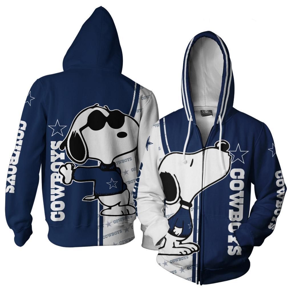 Snoopy dallas cowboys 3d zip hoodie