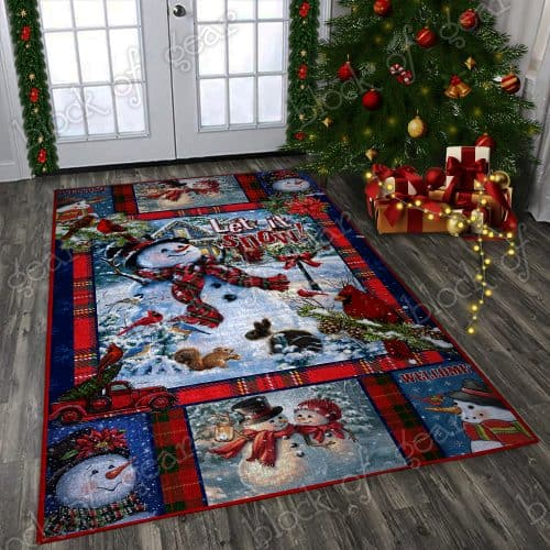 Snowman let it snow christmas living room rug 1
