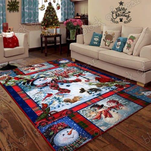 Snowman let it snow christmas living room rug 2