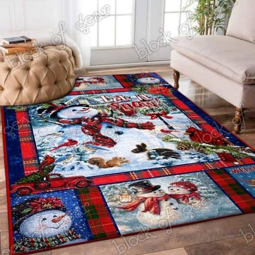 Snowman let it snow christmas living room rug 3