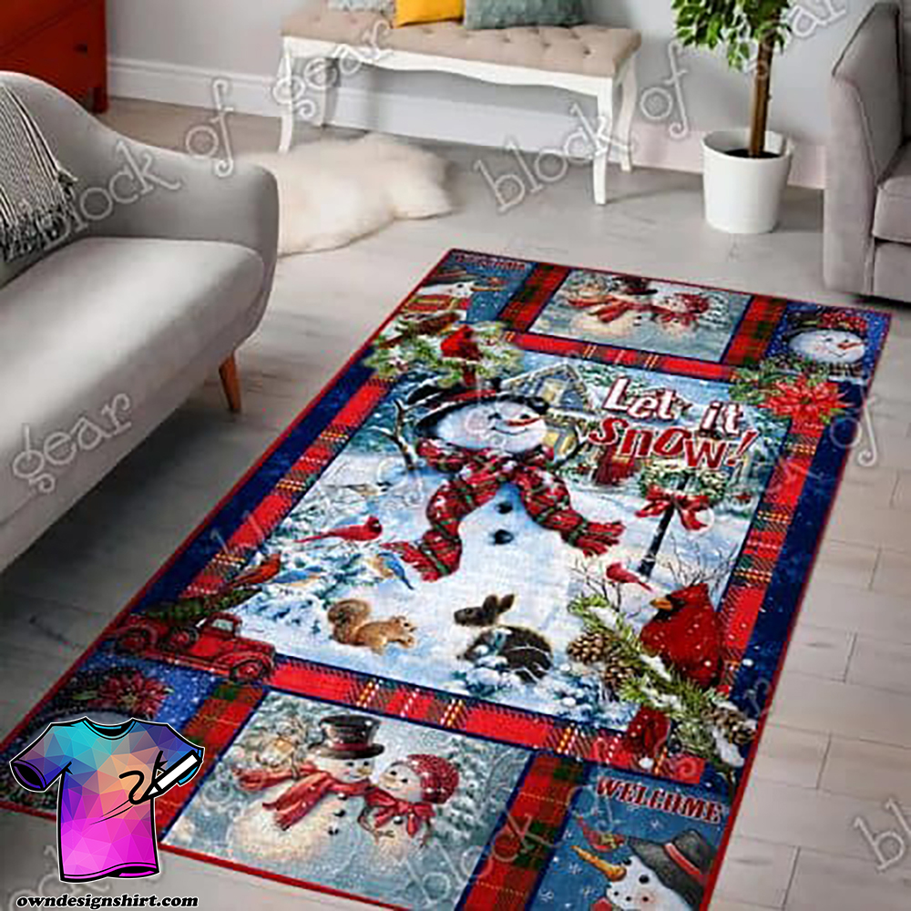 Snowman let it snow christmas living room rug