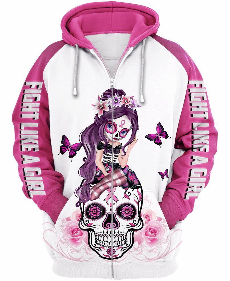 Sugar skull fairy figurine fight like a girl cancer awareness 3d hoodie - white pink