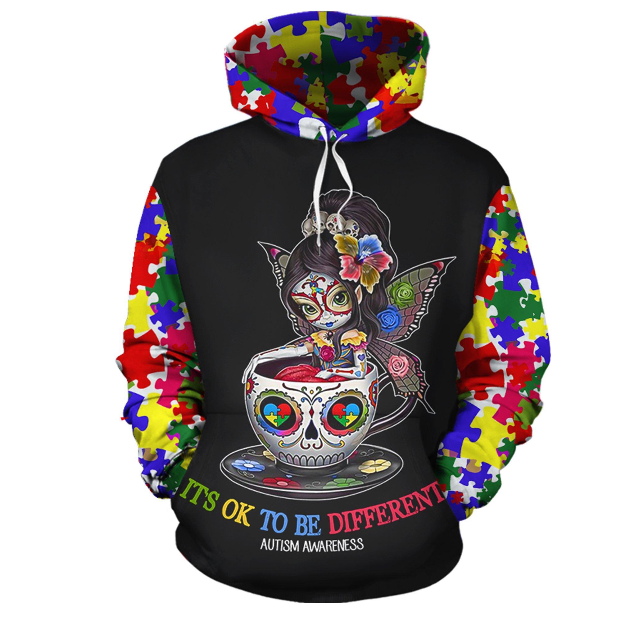 Sugar skull fairy it's ok to be different autism awareness 3d hoodie - original