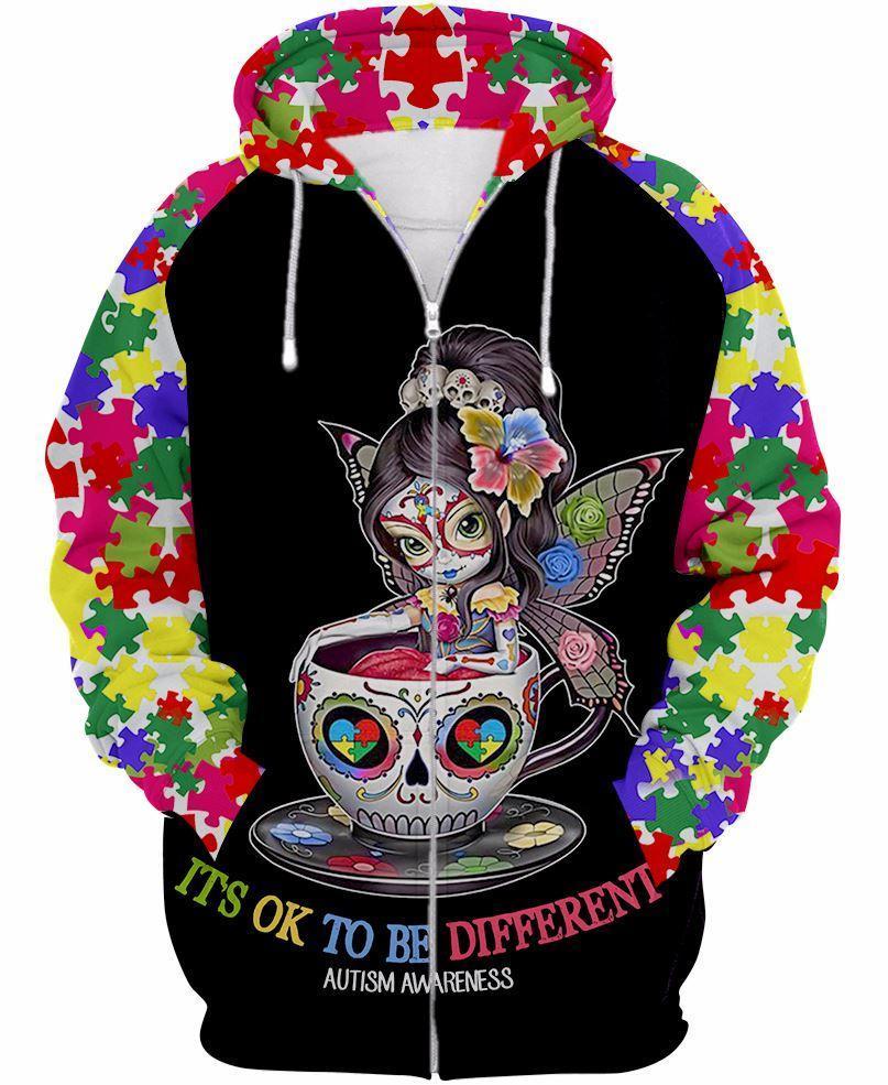 Sugar skull fairy it's ok to be different autism awareness 3d zip hoodie