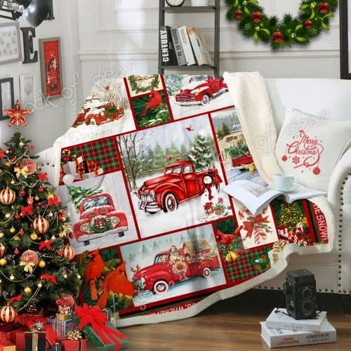 Take a little christmas with you red truck christmas sofa blanket 1