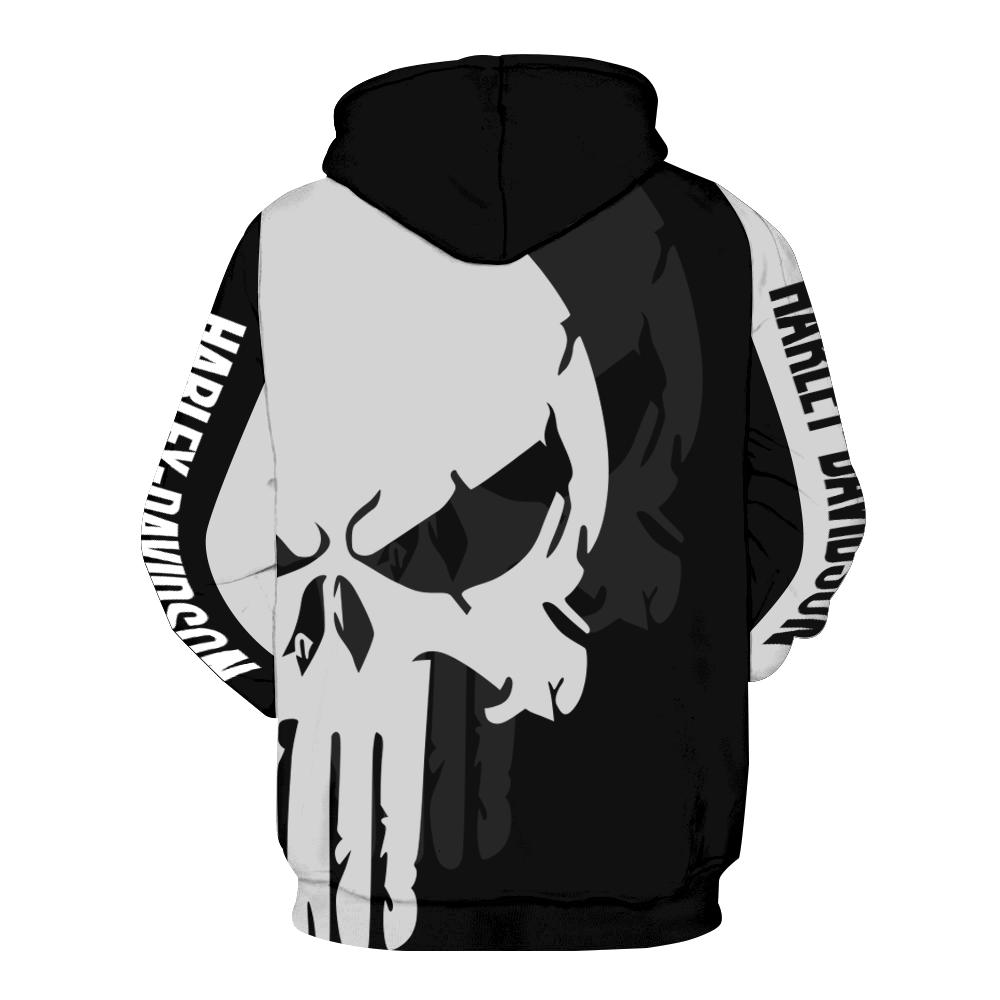 The punisher harley-davidson motorcycle all over print hoodie - back