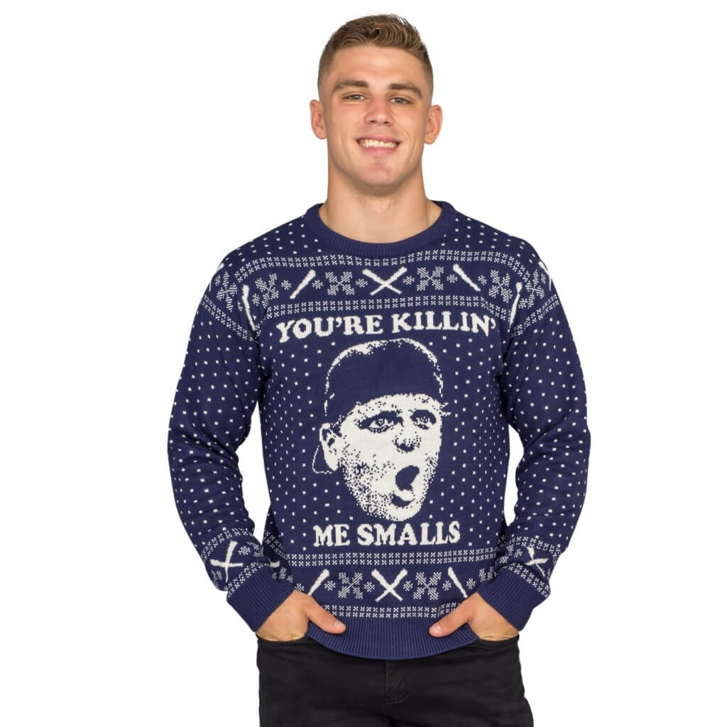 The sandlot you're killing me smalls navy ugly christmas sweater - front