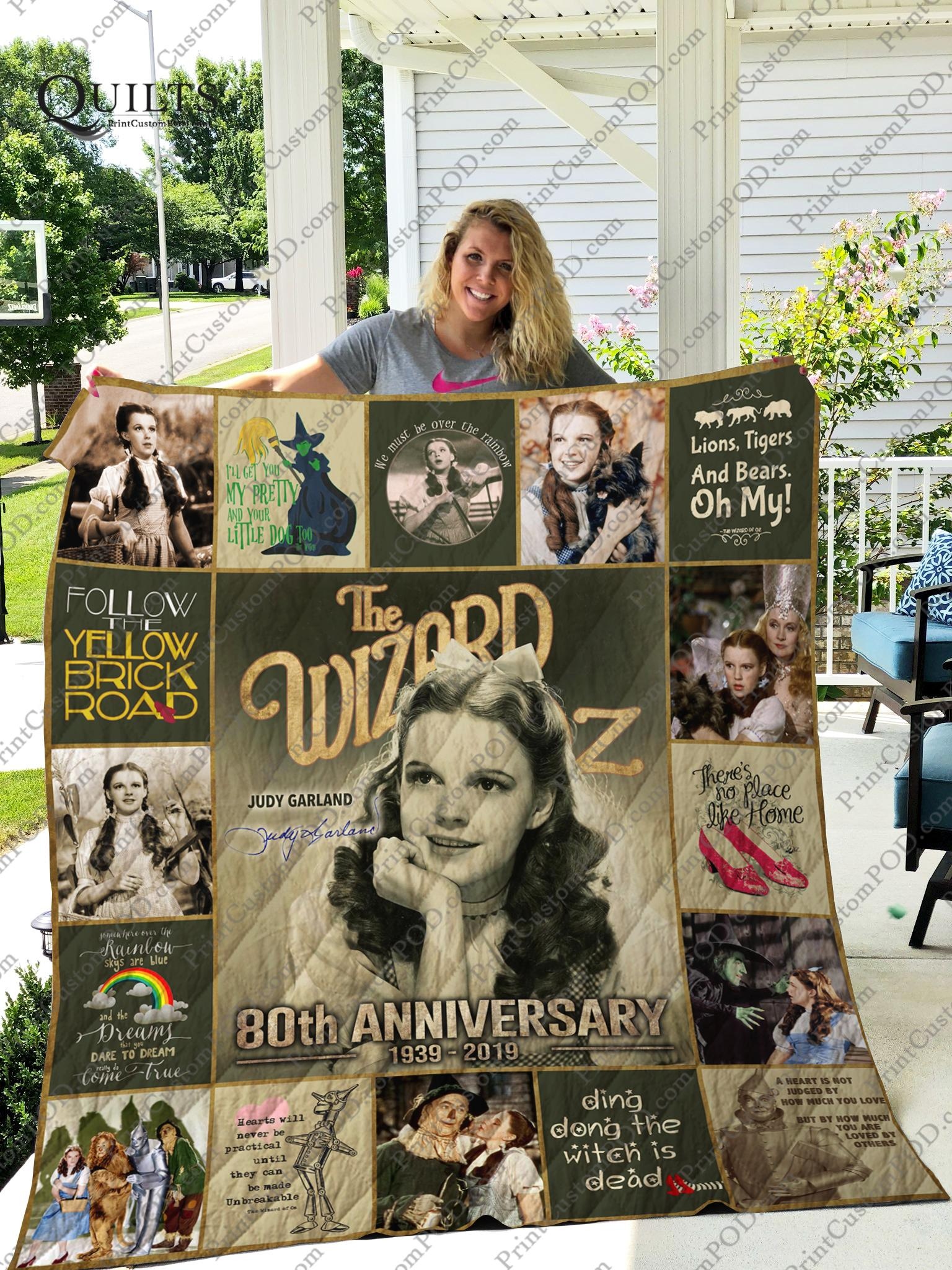 The wizard of oz judy garland 80th anniversary quilt - throw