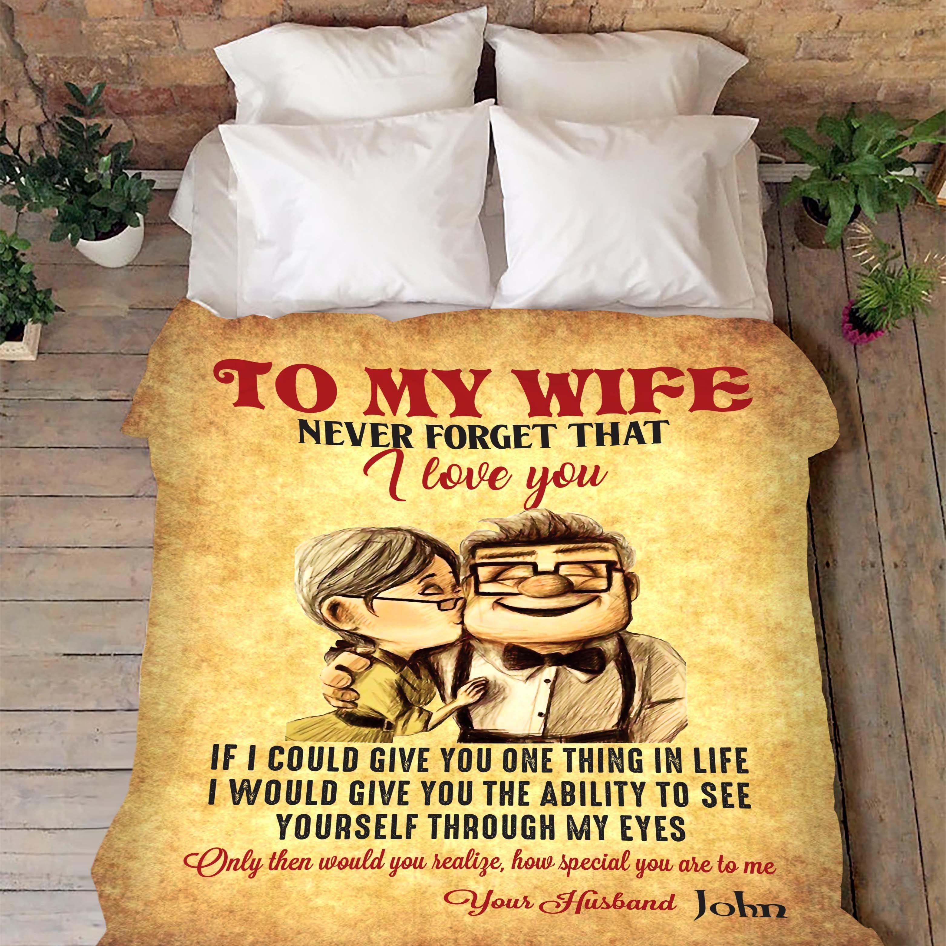Up movie to my wife never forget that I love you blanket - premium