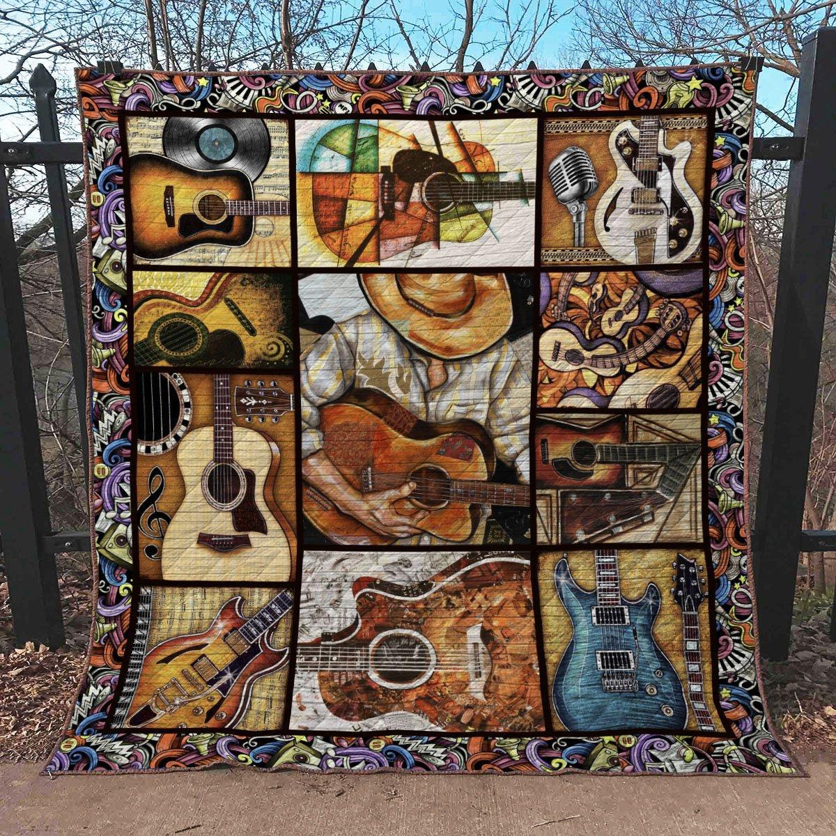 Vintage guitar blanket - twin