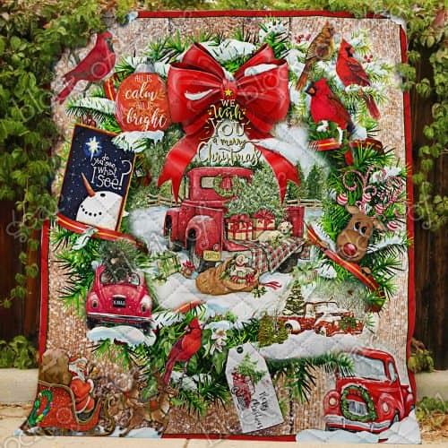 We wish you a merry christmas red truck christmas quilt 1