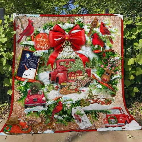 We wish you a merry christmas red truck christmas quilt 2
