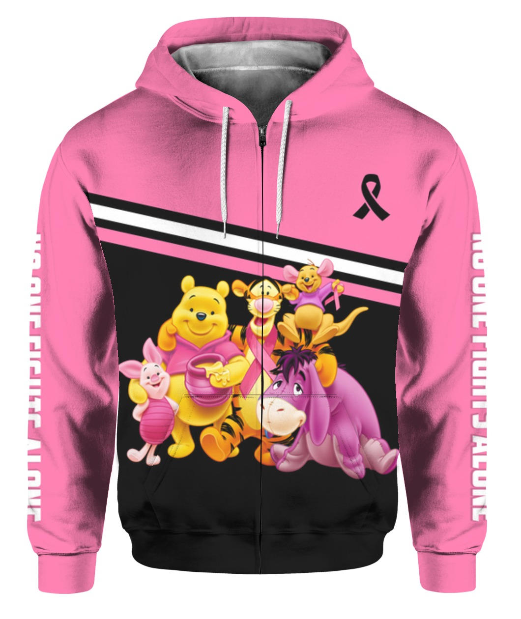 Winnie-the-pooh breast cancer awareness all over printed zip hoodie