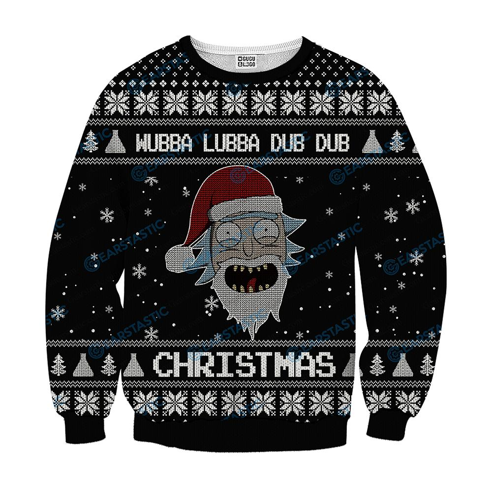 Wubba lubba dub dub joker rick and morty ugly sweater - black