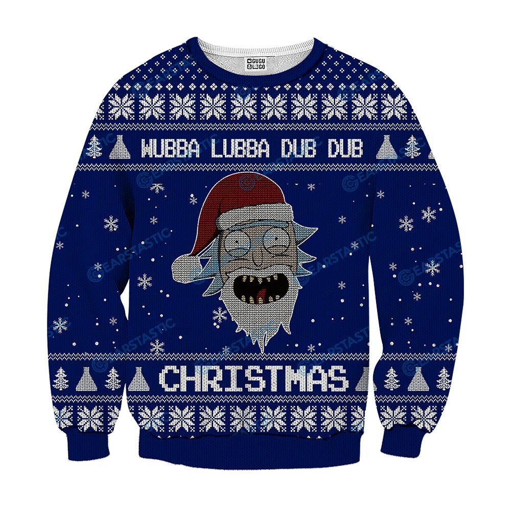 Wubba lubba dub dub joker rick and morty ugly sweater - navy
