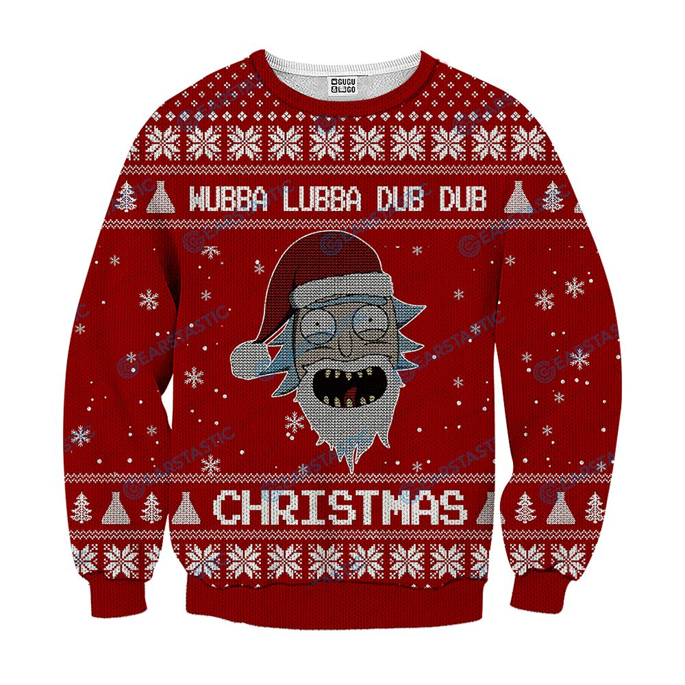Wubba lubba dub dub joker rick and morty ugly sweater - red