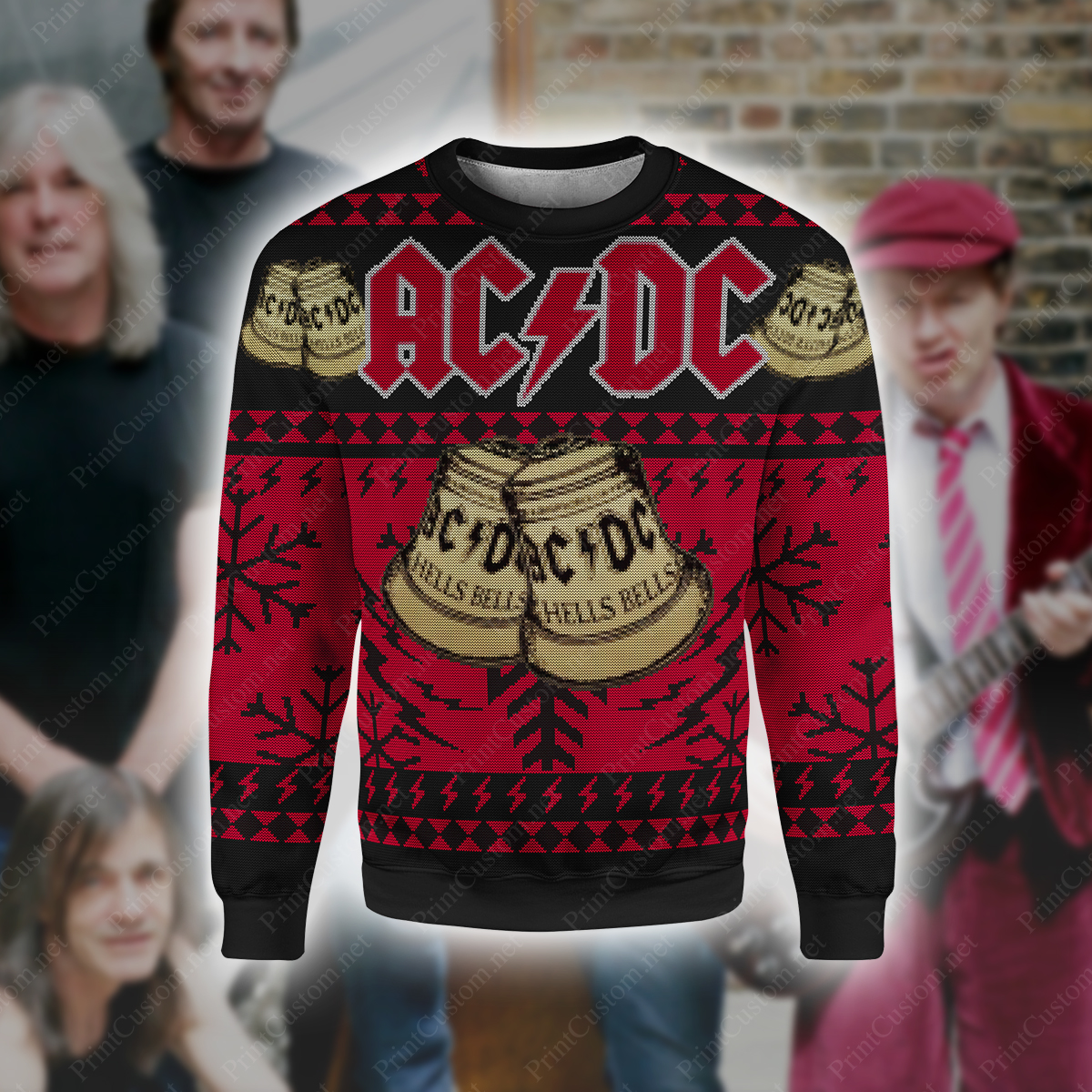 ACDC hells bells full printing ugly christmas sweater 1