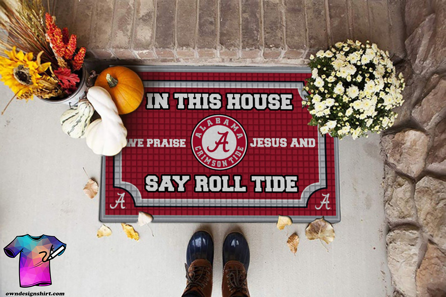 Alabama crimson tide in this house we praise Jesus and say roll tide roll doormat
