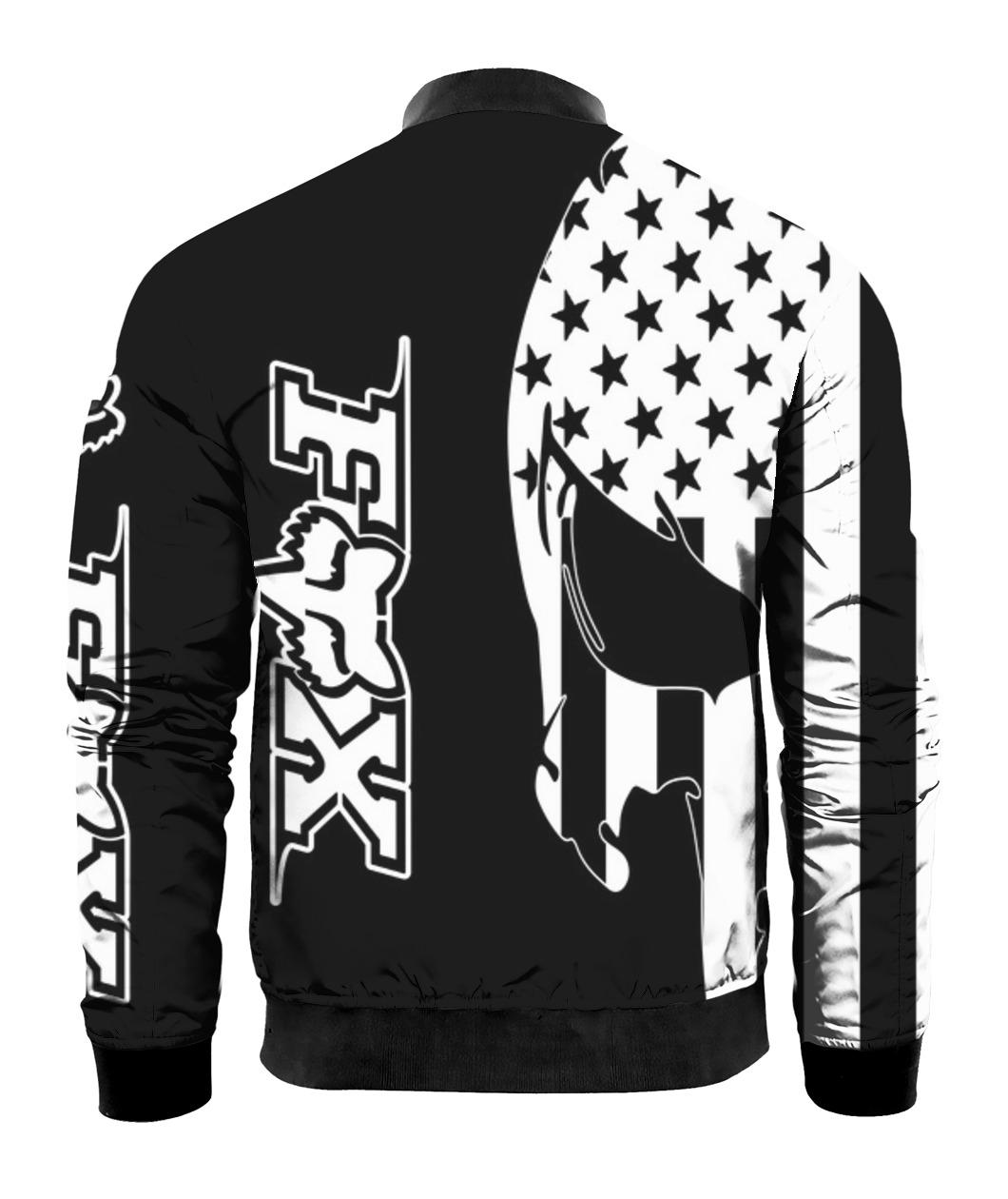 American flag skull fox racing full printing bomber - back