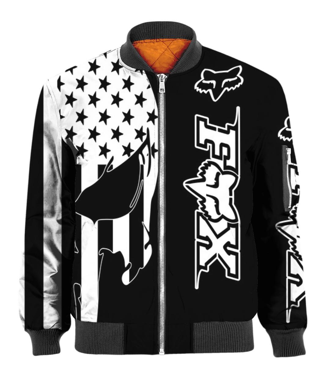 American flag skull fox racing full printing bomber