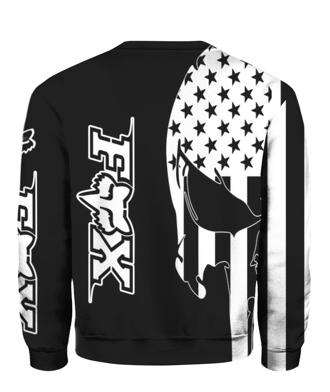 American flag skull fox racing full printing sweatshirt - back
