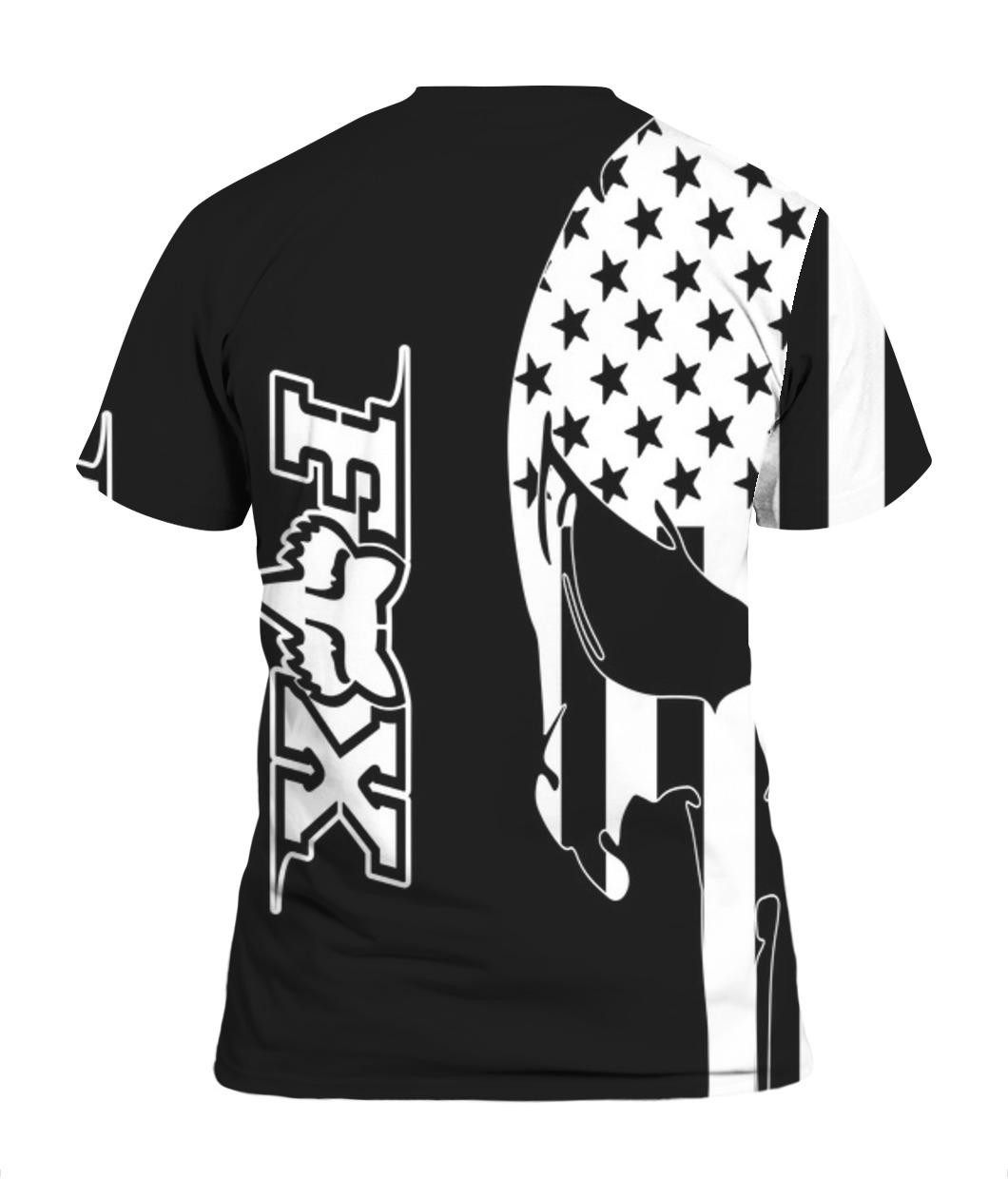 American flag skull fox racing full printing tshirt - back