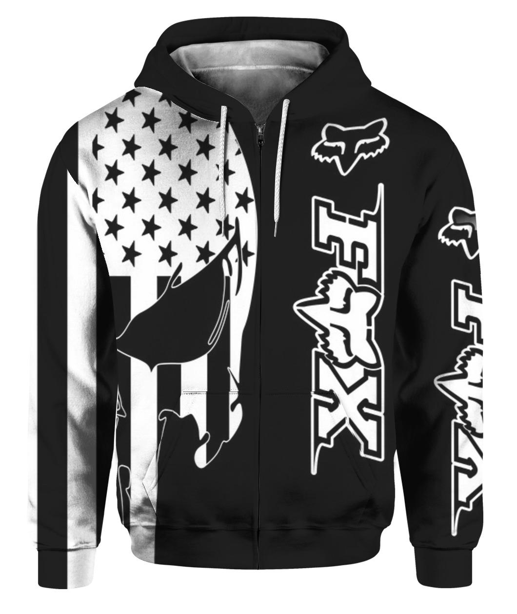 American flag skull fox racing full printing zip hoodie