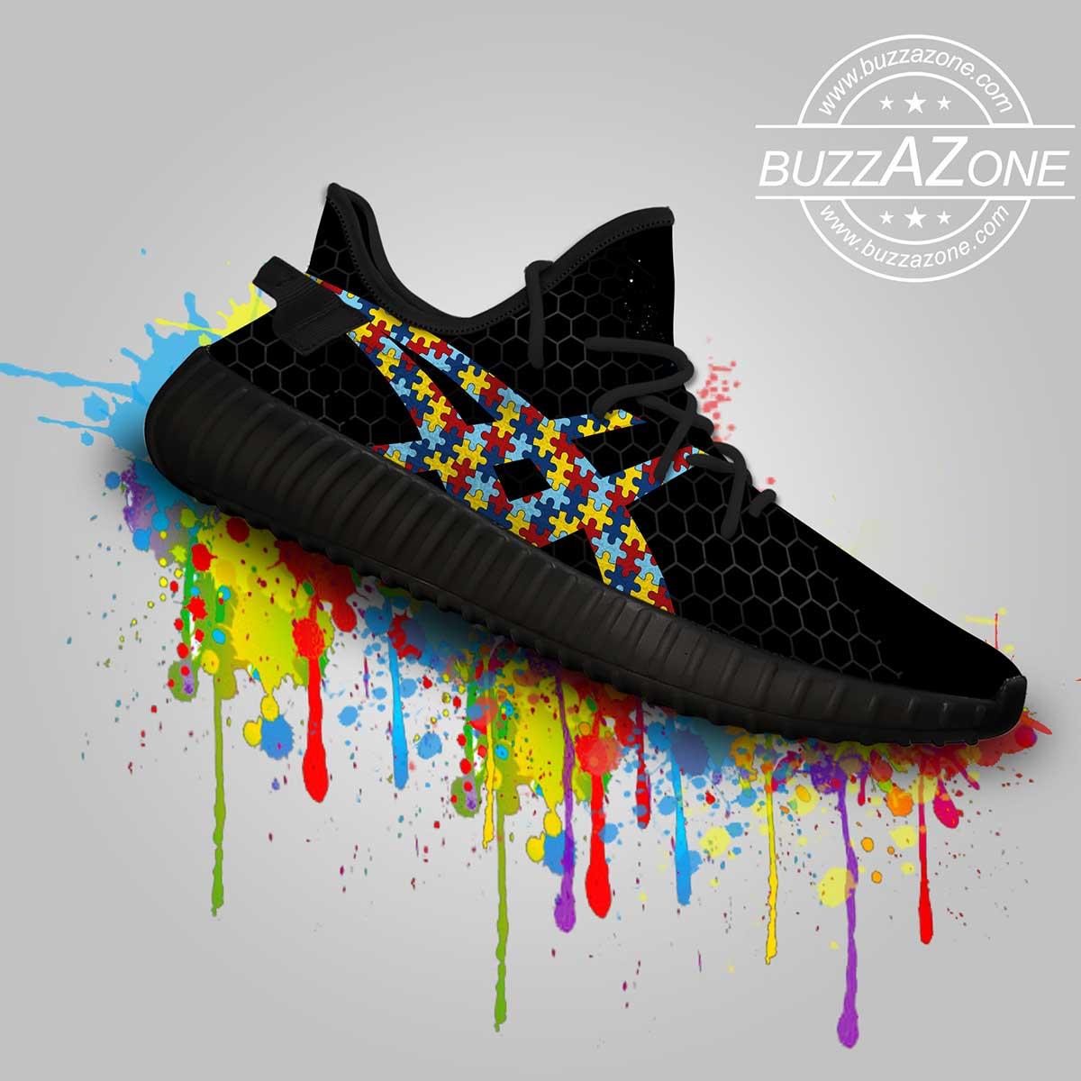 Autism awareness custom yeezy sneakers 4